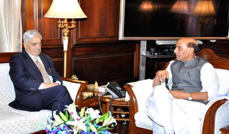 Jammu and Kashmir Chief Minister Mufti Mohammad Sayeed calls on the Union Home Minister, Shri Rajnath Singh, in New Delhi on April 7, 2015. - Mufti Mohammad Sayeed and Shri Rajnath Singh