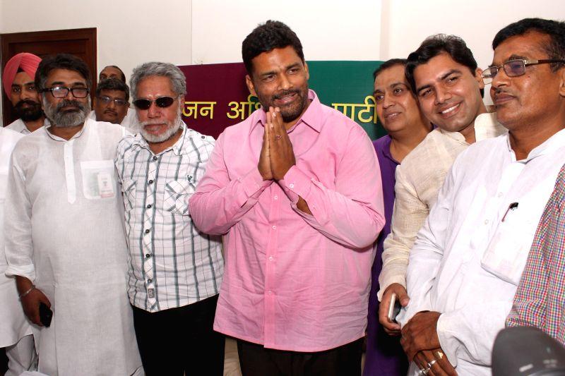 Jan Adhikar Morcha leader Pappu Yadav alias Rajesh Ranjan during a press conference in New Delhi on June 9, 2015.