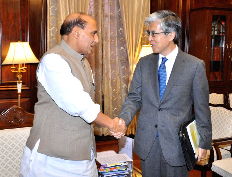 Japan Ambassador to India Takeshi Yagi calls on the Union Home Minister Rajnath Singh, in New Delhi on March 2, 2015.