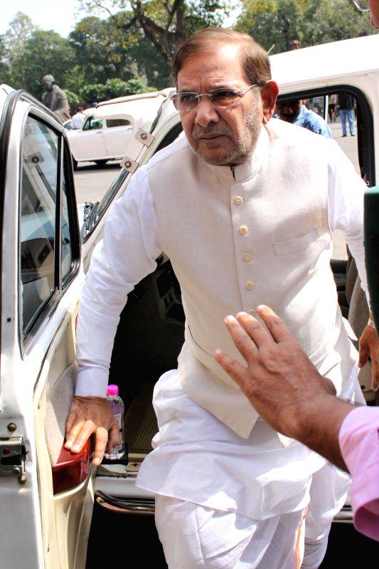 JD(U) chief Sharad Yadav at the Parliament in New Delhi, on March 11, 2015. - Sharad Yadav