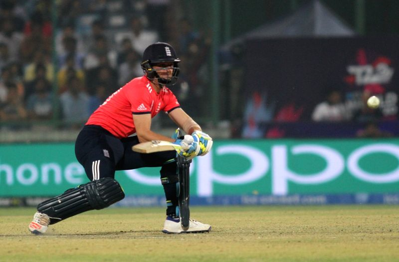 New Delhi: Jos Buttler of England in action during the first WT20 semi-final match between England and New Zealand at Feroz Shah Kotla stadium in New Delhi, on March 30, 2016. (Photo: Surjeet Yadav/IANS)