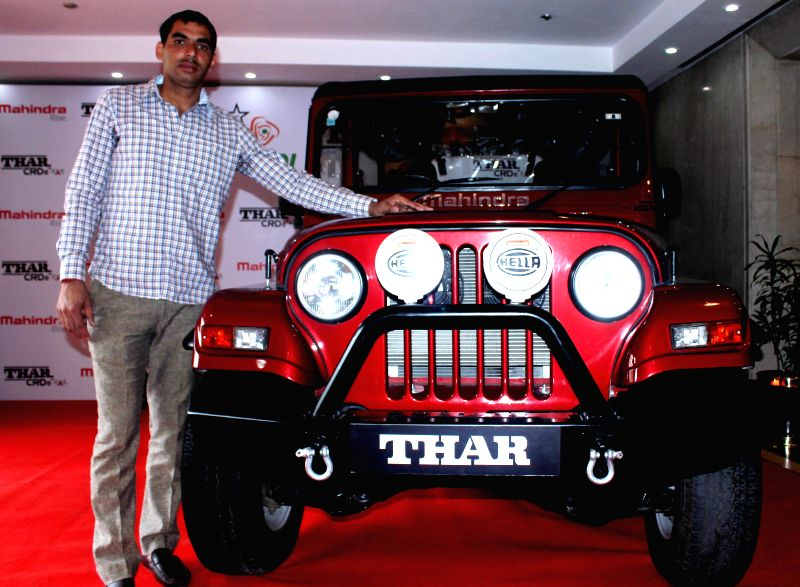 Kabaddi player Anup Kumar at the launch of Mahindra Thar in New Delhi, on Nov 21, 2014.