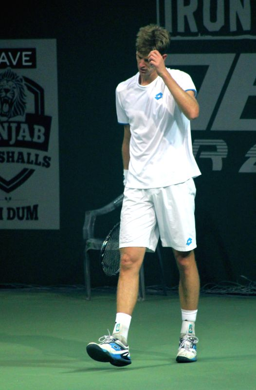 Kevin Anderson of Delhi during Champions Tennis League (CTL) final match against Kevin Anderson of Delhi on Nov 26, 2014. Marcos Baghdatis won.