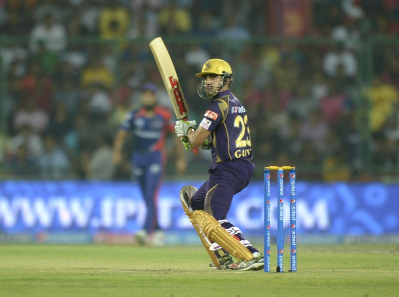 Kolkata Knight Riders captain Gautam Gambhir in action during an IPL-2015 match between Delhi Daredevils and Kolkata Knight Riders at Feroz Shah Kotla stadium, in New Delhi, on April 20, ... - Gautam Gambhir and Feroz Shah Kotla