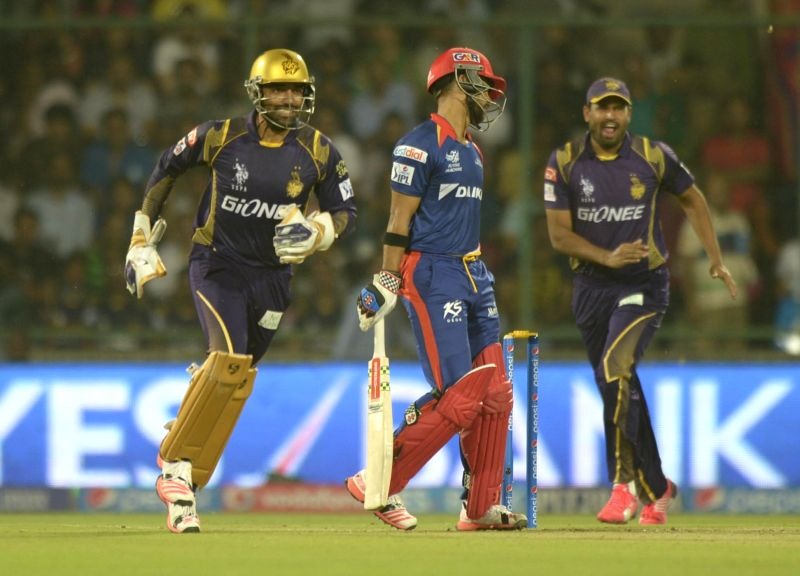 Kolkata Knight Riders celebrate J P Duminy's wicket during an IPL-2015 match between Delhi Daredevils and Kolkata Knight Riders at Feroz Shah Kotla stadium, in New Delhi, on April 20, ... - Feroz Shah Kotla