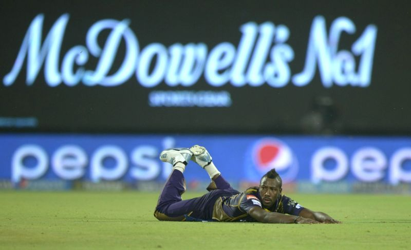 Kolkata Knight Riders player Andre Russell during an IPL-2015 match between Delhi Daredevils and Kolkata Knight Riders at Feroz Shah Kotla stadium, in New Delhi, on April 20, 2015. - Feroz Shah Kotla