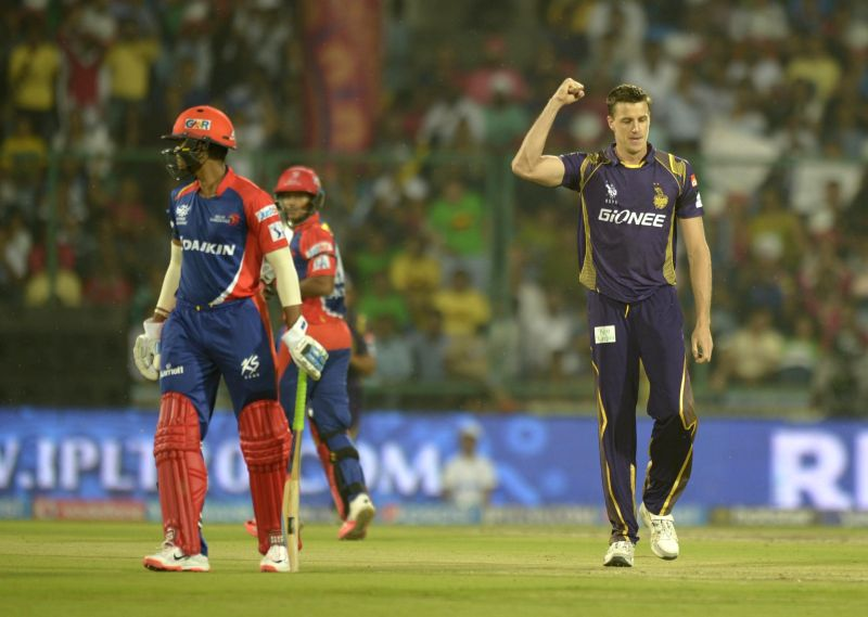 Kolkata Knight Riders player Morne Morkel celebrates fall of a wicket during an IPL-2015 match between Delhi Daredevils and Kolkata Knight Riders at Feroz Shah Kotla stadium, in New Delhi, ... - Feroz Shah Kotla