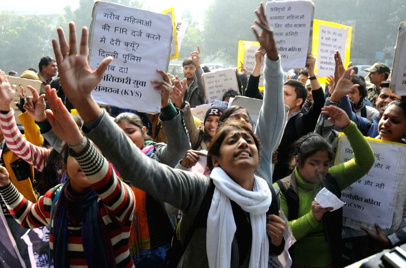 Krantikari Yuva Sangathan (KYS) activists stage a protest outside the Delhi Police Headquarters against police negligence in the recent gang-rape of a factory worker, in New Delhi on Jan ..