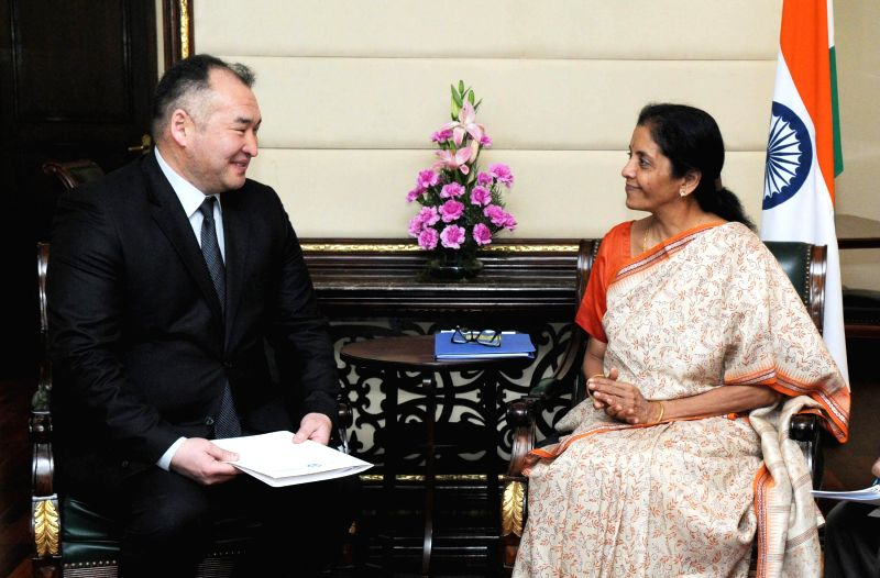 Kyrgyzstan Minister of Energy and Industry, Kubanychbek Turdubaev meets the Minister of State for Commerce and Industry (Independent Charge), Nirmala Sitharaman, in New Delhi on March 17, ...