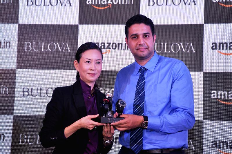 (L to R) Bulova VP (Asia Pacific), June Rhee and Head Fashion Amazon India, Vikas Purohit at the launch of Bulova Watches on Amazon.in in New Delhi on Feb 5, 2015.