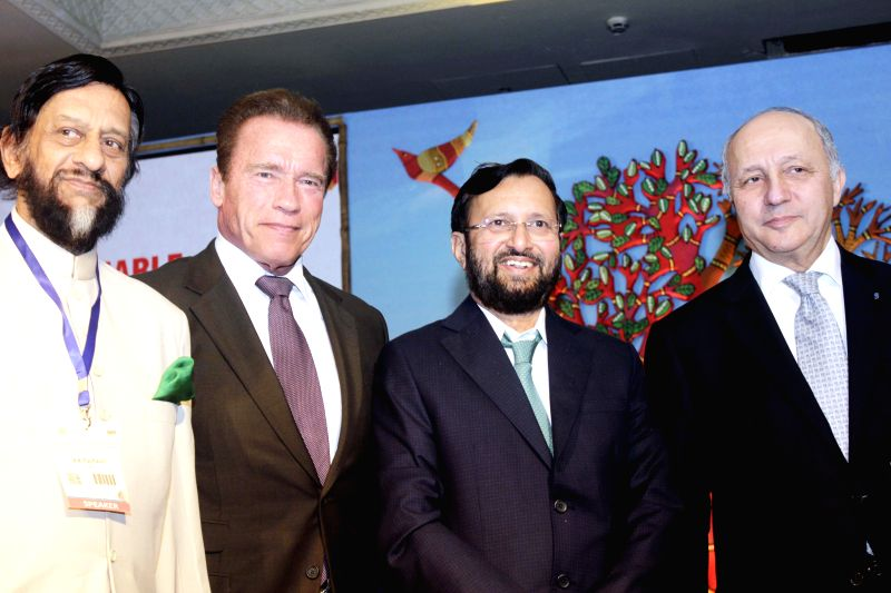 (L to R) Director General of TERI R K Pachauri, former Governor of California Arnold Schwarzenegger, Minister of Environment & Climate Change Prakash Javadekar and French Foreign ... - Laurent Fabius