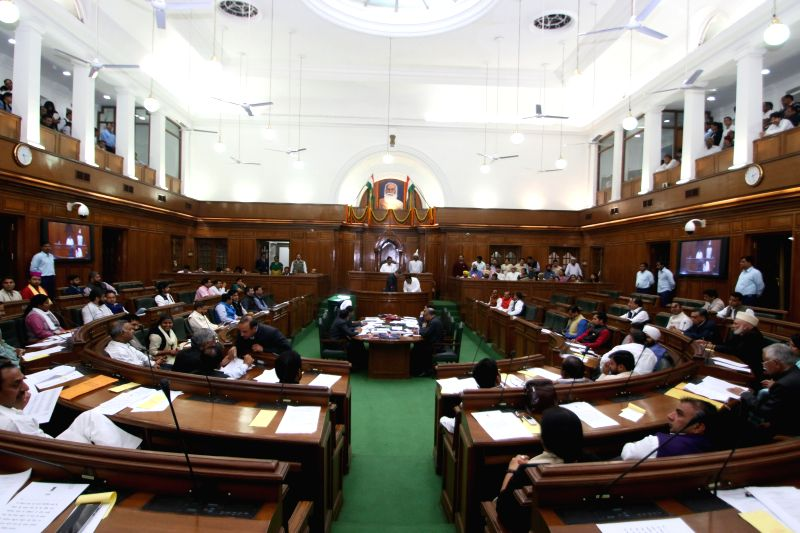 Legislators on the Day -1 of Delhi Legislative Assembly's first session after the formation of the new Government on Feb 23, 2015.