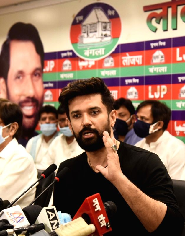 New Delhi: LJP leader Chirag Paswan addressing a press conference at his residence in New Delhi on Wednesday 16 June 2021  (Photo: Qamar Sibtain/IANS)
