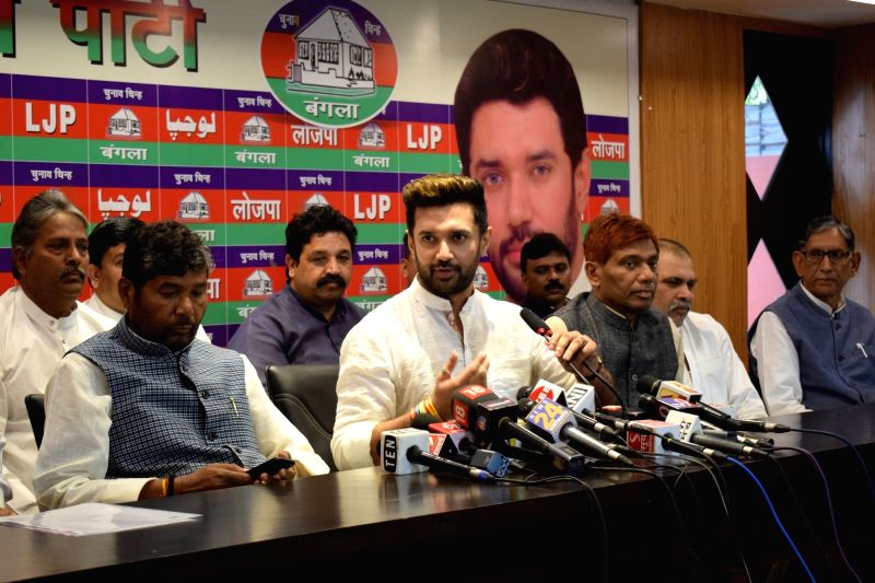New Delhi: Lok Janshakti Party (LJP) leader Chirag Paswan addresses a press conference in New Delhi, on March 18, 2019. (Photo: IANS)