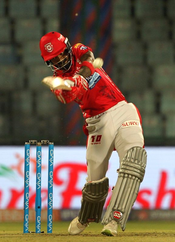 New Delhi:Lokesh Rahul in action during an IPL 2018 match between Kings XI Punjab and Delhi Daredevils at Feroz Shah Kotla, in New Delhi on April 23, 2018. - Lokesh Rahul and Feroz Shah Kotla