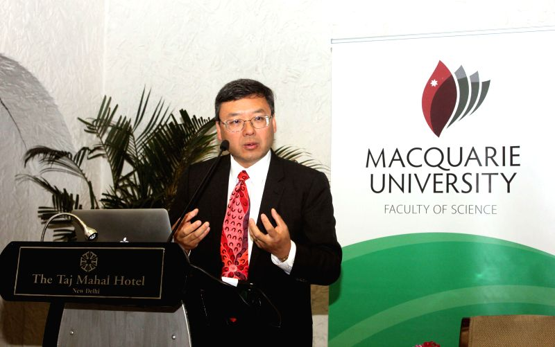 Macquarie University deputy vice-chancellor (international), Professor Jim Lee addresses a press conference in New Delhi, on Jan 13, 2015.