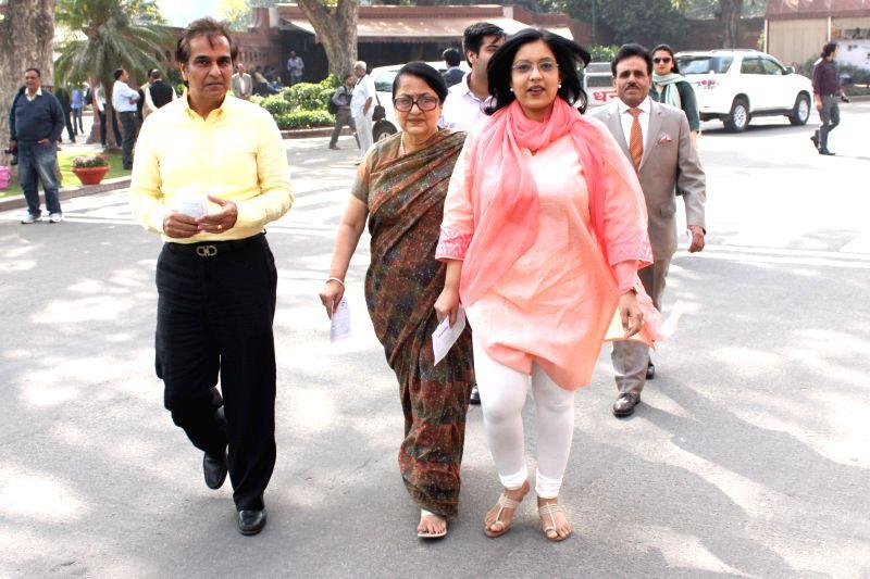 Madhu Bhargava, the sister of Union Finance Minister Arun Jaitley at the Parliament in New Delhi, on Feb 28, 2015. - Arun Jaitley