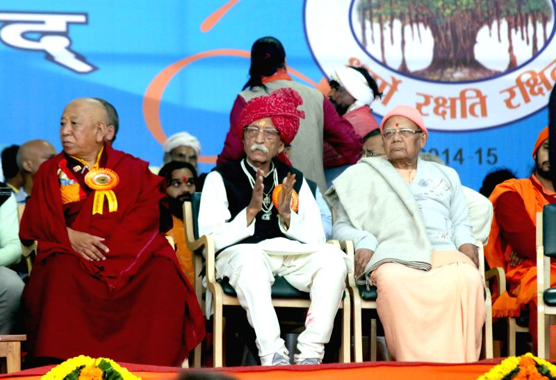 Mahashay Dharam Pal of MDH and other during VHP's Virat Hindu Sammelan at the Jawaharlal Nehru Stadium in New Delhi, on March 1, 2015.