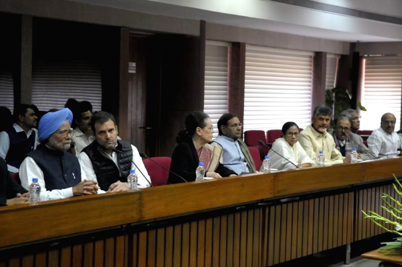 New Delhi: Manmohan Singh (Congress), Rahul Gandhi (Congress), Sonia Gandhi (Congress), Sharad Yadav (Loktantrik Janata Dal), Mamata Banerjee (Trinamool Congress) and N. Chandrababu Naidu (TDP) at opposition parties' meeting in New Delhi on Feb 27, 2