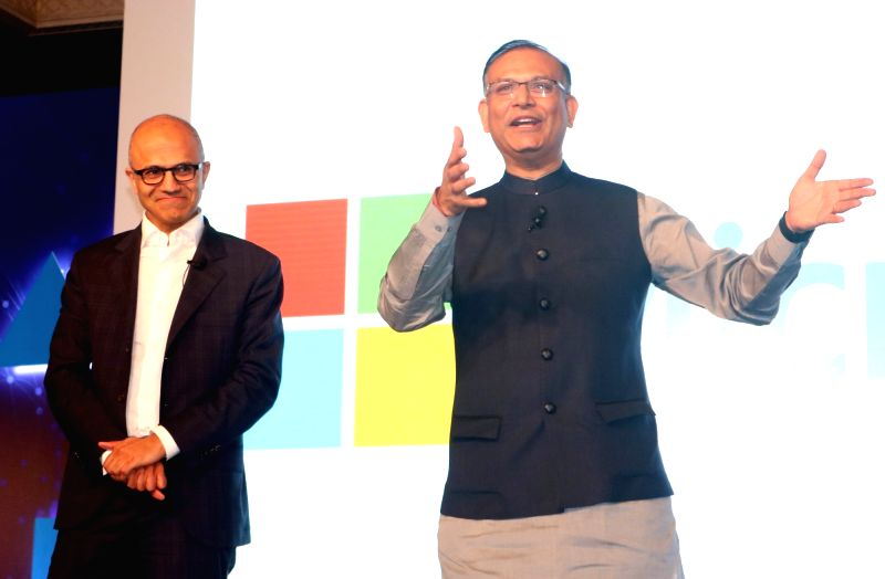 """New Delhi:Microsoft CEO Satya Nadella and Union MoS Finance Jayant Sinha during  """"Tech for Good, Ideas for India"""" - programme organised for young achievers, developers and entrepreneurs in ... - Jayant Sinha"""