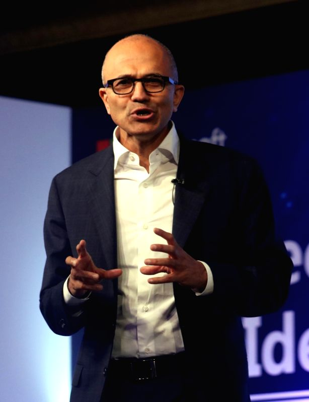 """New Delhi:Microsoft CEO Satya Nadella during  """"Tech for Good, Ideas for India"""" - programme organised for young achievers, developers and entrepreneurs in New Delhi, on May 30, 2016."""