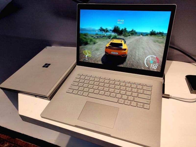 :New Delhi: Microsoft Surface Book 2 series of laptops in New Delhi on Aug. 7, 2018. (Photo: IANS).