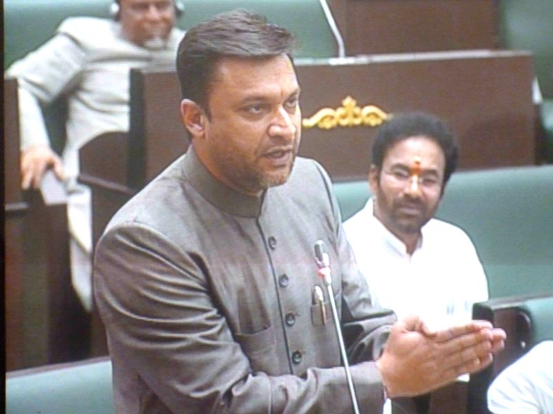 MIM leader Akbaruddin Owaisi addresses in the Telangana assembly on on March 24, 2015.