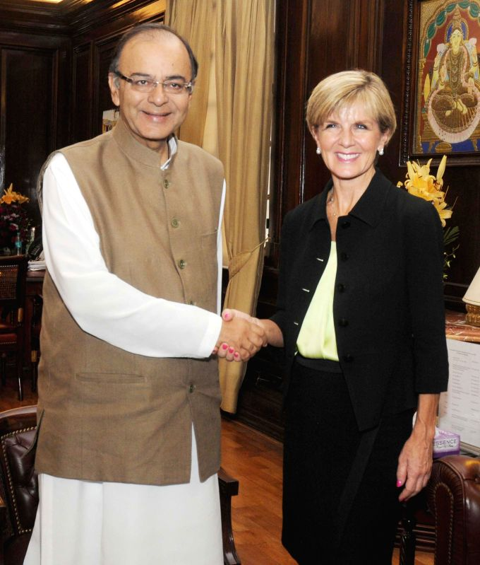 Minister of Foreign Affairs, Australia Julie Bishop calls on the Union Minister for Finance, Corporate Affairs and Information and Broadcasting Arun Jaitley, in New Delhi on April 13, ...