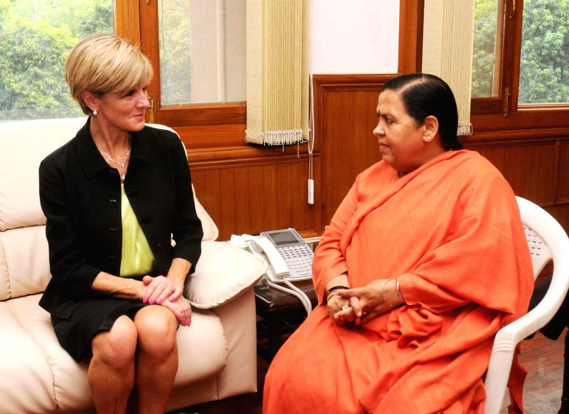 Minister of Foreign Affairs, Australia Julie Bishop calls on Union Minister for Water Resources, River Development and Ganga Rejuvenation Uma Bharti, in New Delhi on April 13, 2015.