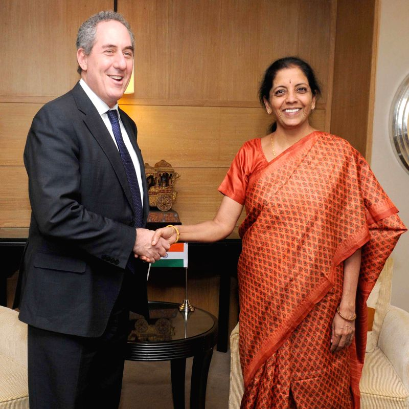 Minister of State for Commerce and Industry (Independent Charge) Nirmala Sitharaman meets the United States Trade Representative Michael Froman, in New Delhi on Nov 25, 2014.