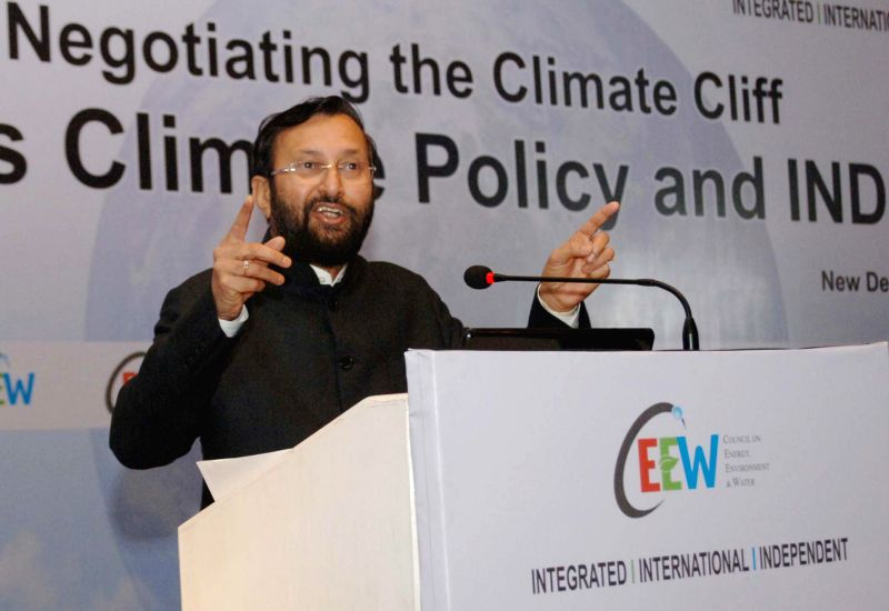 Minister of State for Environment, Forest and Climate Change (Independent Charge), Prakash Javadekar addresses at the conference on ``Negotiating the Climate Cliff: India`s Climate Policy .
