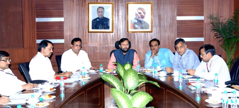 Minister of State for Environment, Forest and Climate Change (Independent Charge) Prakash Javadekar during a meeting of the Environment Ministers of National Capital Region, (NCR), in New ...