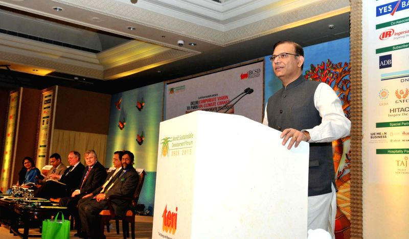 Minister of State for Finance Jayant Sinha addresses a High Level Corporate conference on Sustainable Development Goals, in New Delhi on Feb. 4, 2015.