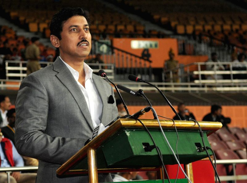Minister of State for Information and Broadcasting, Col. Rajyavardhan Singh Rathore addresses during the inaugural ceremony of the 63rd All India Police Wrestling Cluster 2014-15, hosted ...