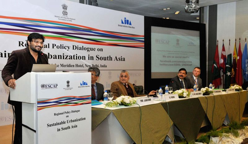 Minister of State for Urban Development, Housing and Urban Poverty Alleviation, Babul Supriyo addresses during the Regional Policy Dialogue on Sustainable Urbanization in South Asia, in ...