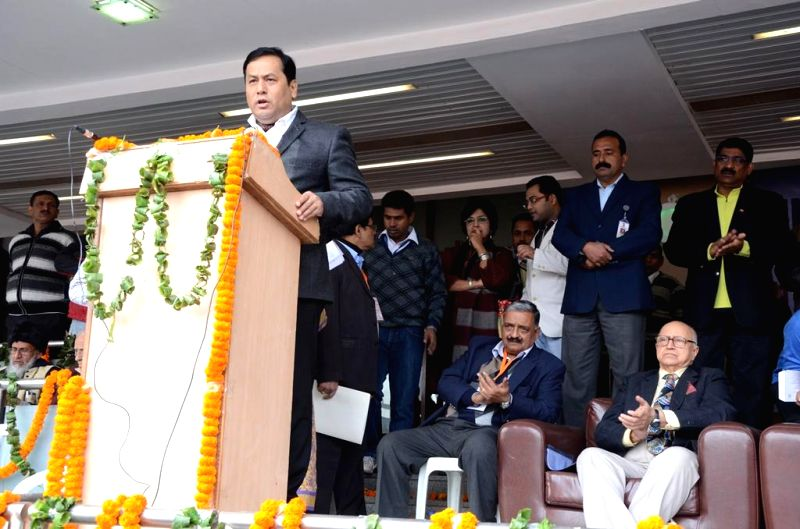 Minister of State (Independent Charge) for Youth Affairs and Sports Sarbananda Sonowal addresses during the inauguratation of the 19th National Sports Meet for the Blind at Jawaharlal ...