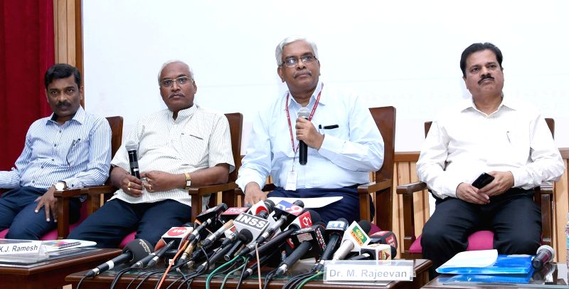 """New Delhi: Ministry of Earth Sciences Secretary M. Rajeevan and Indian Meteorological Department (IMD) DG K.J. Ramesh during a press conference on the """"1st stage Long Range Forecast (LRF) for Southwest Monsoon rainfall for 2019"""", in New Delhi on Apri"""