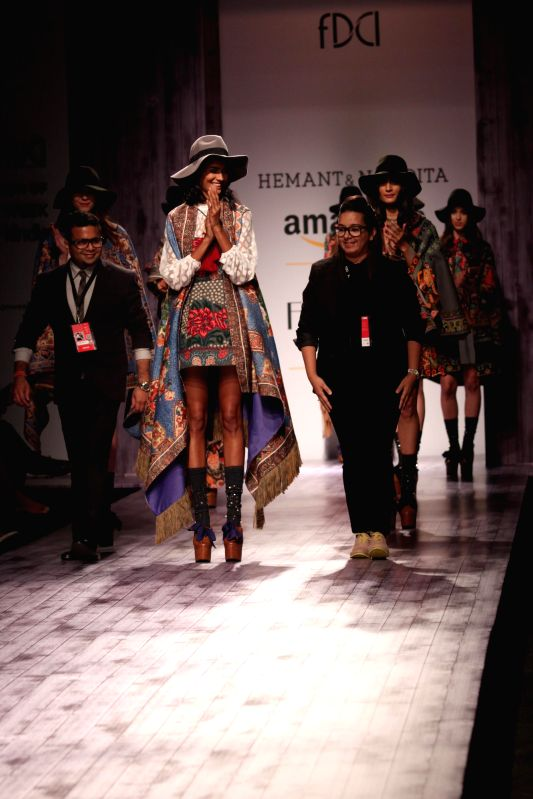 Models showcase fashion designers Hemant and Nandita's creations during Amazon India Fashion Week in New Delhi, on March 26, 2015.