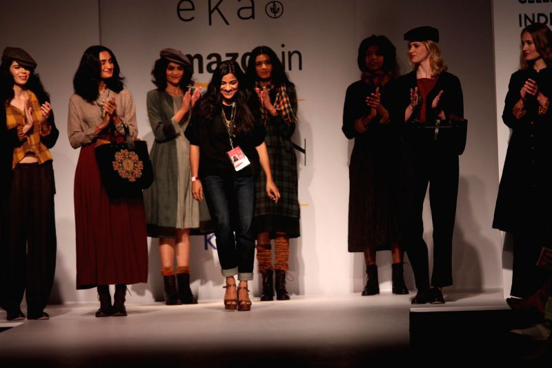 Models showcases EKA`s creations during Amazon India Fashion Week in New Delhi, on March 27, 2015.