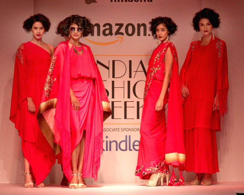 Models showcases fashion designer Nikasha Tawadey during Amazon India Fashion Week on March 25, 2015.