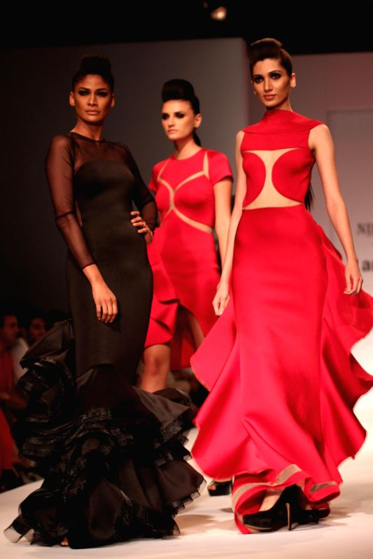 Models showcases fashion designer Nikhita Tandon`s creations during Amazon India Fashion Week in New Delhi, on March 28, 2015.