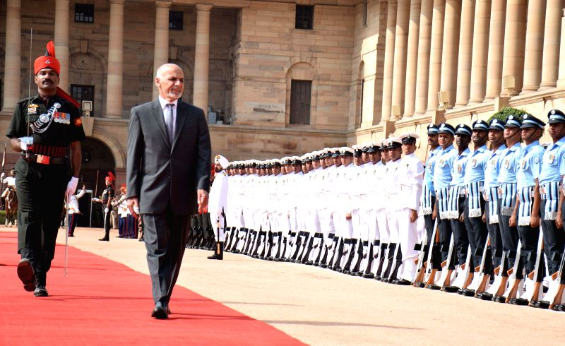 Mohammad Ashraf Ghani, President of the Islamic Republic of Afghanistan inspecting a guard of honour during ceremonial reception at Rashtrapati Bhavan in New Delhi on April 28, 2015.