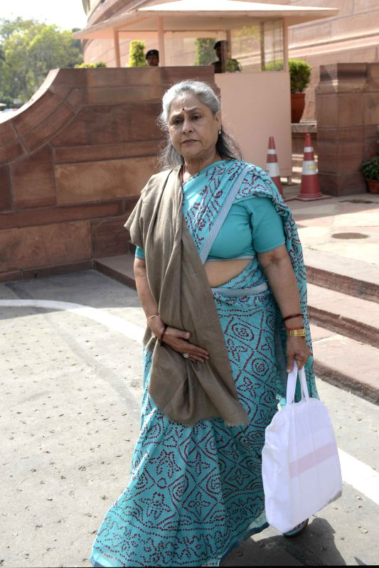 MP and actress Jaya Bachchan at the Parliament in New Delhi, on Feb 28, 2015. - Jaya Bachchan