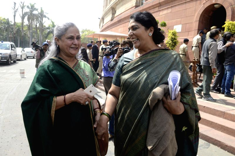 MPs Jaya Bachchan and Renuka Chowdhury at the Parliament in New Delhi, on March 11, 2015. - Jaya Bachchan