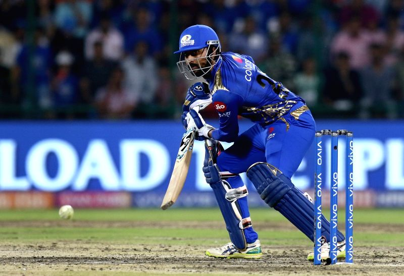 New Delhi: Mumbai Indians' Krunal Pandya in action during the 34th match of IPL 2019 between Delhi Capitals and Mumbai Indians at Feroz Shah Kotla in New Delhi on April 18, 2019. (Photo: Surjeet Yadav/IANS)