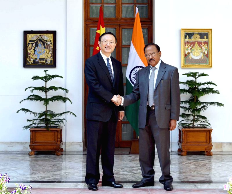 National Security Advisor Ajit Kumar Doval meets Yang Jiechi, the State Councilor and Chinese Special Representative in New Delhi on March 23, 2015.