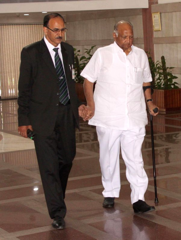 NCP chief Sharad Pawar arrives to attend an all party meeting  in New Delhi on Feb 22, 2015.