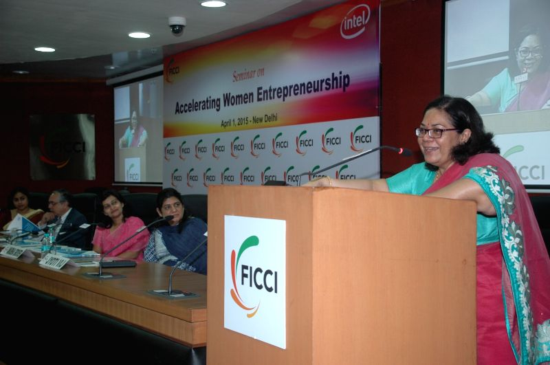 NCW chairperson Lalitha Kumaramangalam addresses during a seminar on `Accelerating Women Entrepreneurship` organised by FICCI in New Delhi, on April 1, 2015.