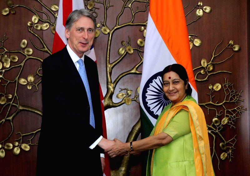 New Delhi: British Foreign Secretary Philip Hammond calls on Union External Affairs Minister Sushma Swaraj in New Delhi, on March 12, 2015.