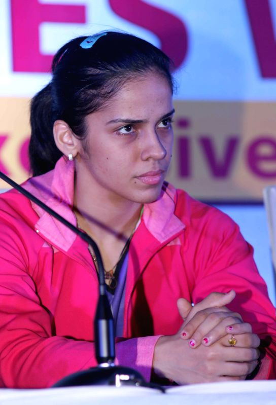 New Delhi: Indian badminton player Saina Nehwal ​​​​during​ the concluding ceremony of​ Junior Badminton Championship 2015 at the Thyagaraj Sports Complex in New Delhi on March ...